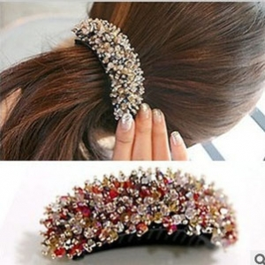 Bright crystal beads curved cross Hair clip