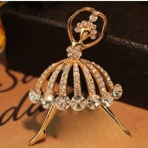 F21 Diamond ballet brooch
