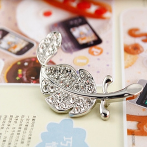 D57 Diamond Leaves Brooch