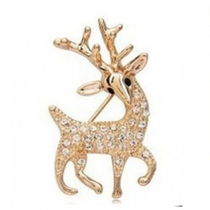 F18 Crystal Deer Brooch