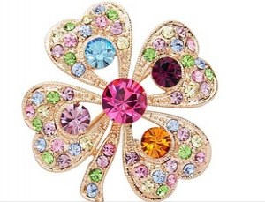 F17 Crystal Flowers Brooch