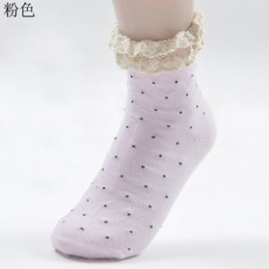 Candy coloured socks with cotton lace design