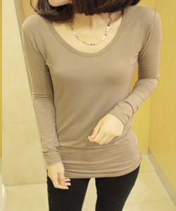 Long-Sleeve U Neck basic Tee