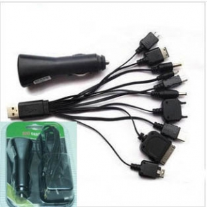 Universal USB Car Charger  with 10 cables