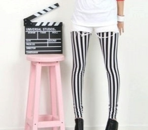Black and White vertical stripes leggings