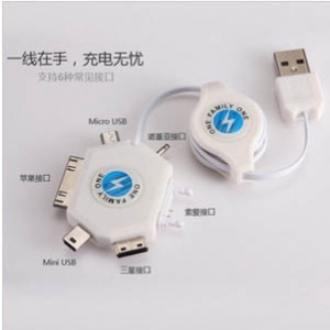 Retractable USB multi-connector cable