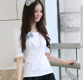 8008Puffy Short Sleeves Basic Tee