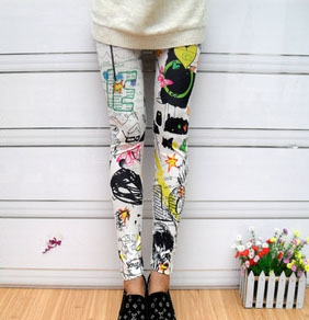 Graffiti printing cotton leggings pants