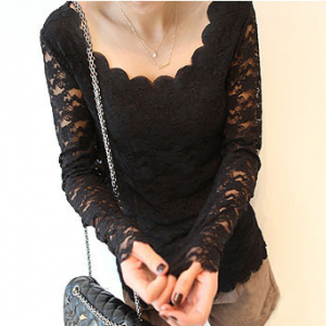 T108 Long sleeves Round Neck Lace Blouse