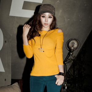 T919 Round-neck cut out shoulder long-sleeved T-shirt