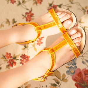 T-Bar Glittery Golden Ankle Strap Sandals