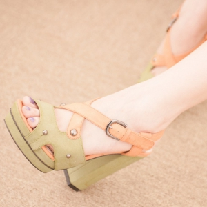 Green Duo Colour Chunky Heels With Studs