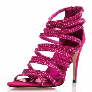 Special offer -Defective Strappy Heels With Crystal Studs