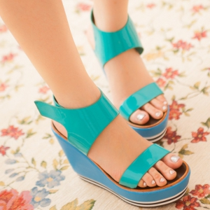 Green Patent Ankle Strap Wedge