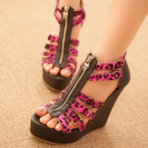 Pink Leopard Print Wedge Shoes
