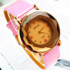 151165  Casual tinted glass leather watch