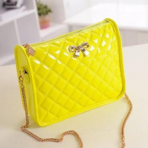 Quilted Patent leather bow shoulder bag