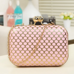 Goldweave polka dot mini clutch shoulder bag / evening bag