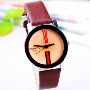 162276 Trendy simple design leather watch