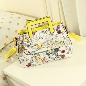 Retro Flowers shoulder OL fashion bag (Yellow)