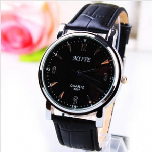 166462  Trendy simple design leather watch