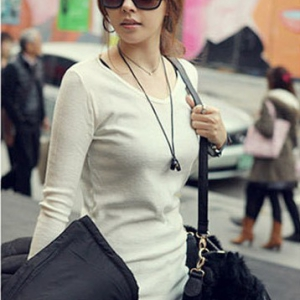 T870 Long Sleeves V-neck Basic Top