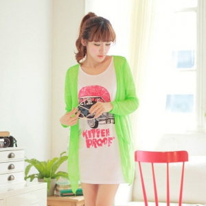 T379 Neon colours long sleeve cardigan