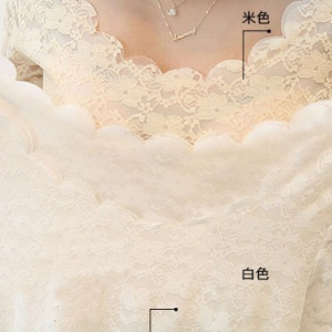 Long sleeves Round Neck Lace Blouse