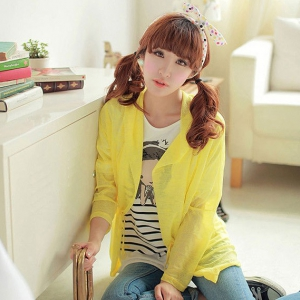 Candy colour sunscreen hooded cardigan