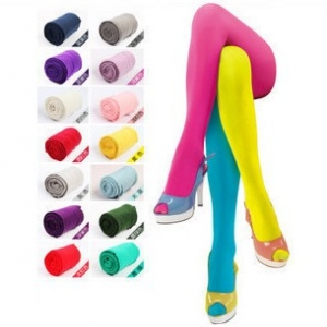 Candy-coloured velvet pantyhose stockings
