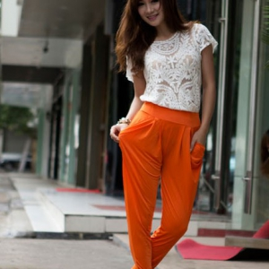 D670 Candy-colours harem pants