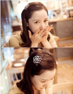 Rose design crystal Hair Pin