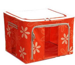 100L Floral Print Foldable Storage Box With See Through Panel