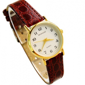 Small Super Slim Ladies Leather Strap Watch