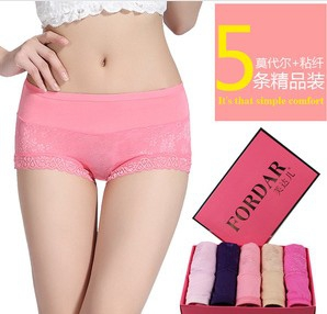 Ladies lace waist breathable underwear (5 pcs in a box)