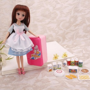9寸doll and refrigerator toy set