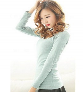 Candy coloured Cotton V-neck long-sleeves T-shirt