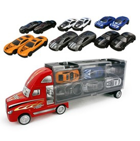 Portable plastic container truck sliding model with 12 alloy car