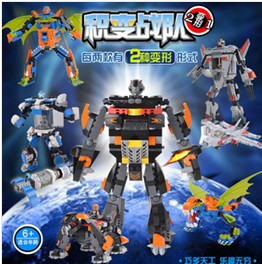 2 in 1 building blocks assembled robot / aircraft / spacecraft / monster / dragon toys