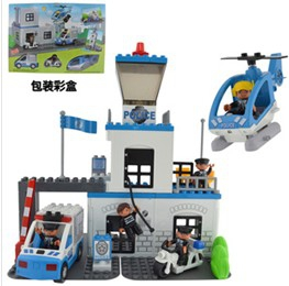 Police station car and airplane building blocks set