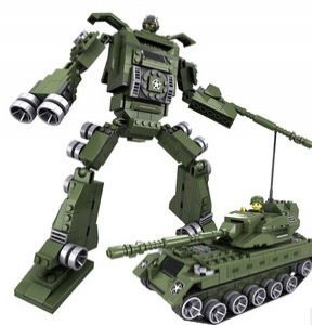2 in 1 Deformation building blocks assembled robot / car / tank / plane / hand flames / Storm Models