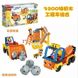 Construction vehicles assembled DIY Blocks / mixing / forklift 3200pcs
