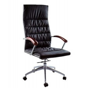 Leather swivel chair with armrest