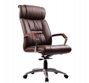 Leather office chair with wooden armrest