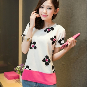 Special offer- Defective Flower diamond chiffon blouse