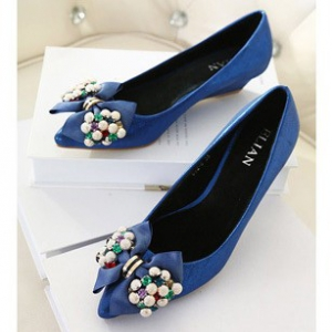 Blue wedge shoes with bow