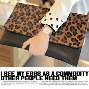 Leopard printed leather big clutch bags