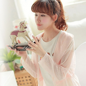 Candy colour long-sleeved  transparent cardigan