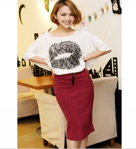 Candy colored elastic hip pencil skirt