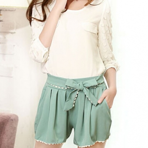 Korean elastic waist chiffon lace bow loose shorts